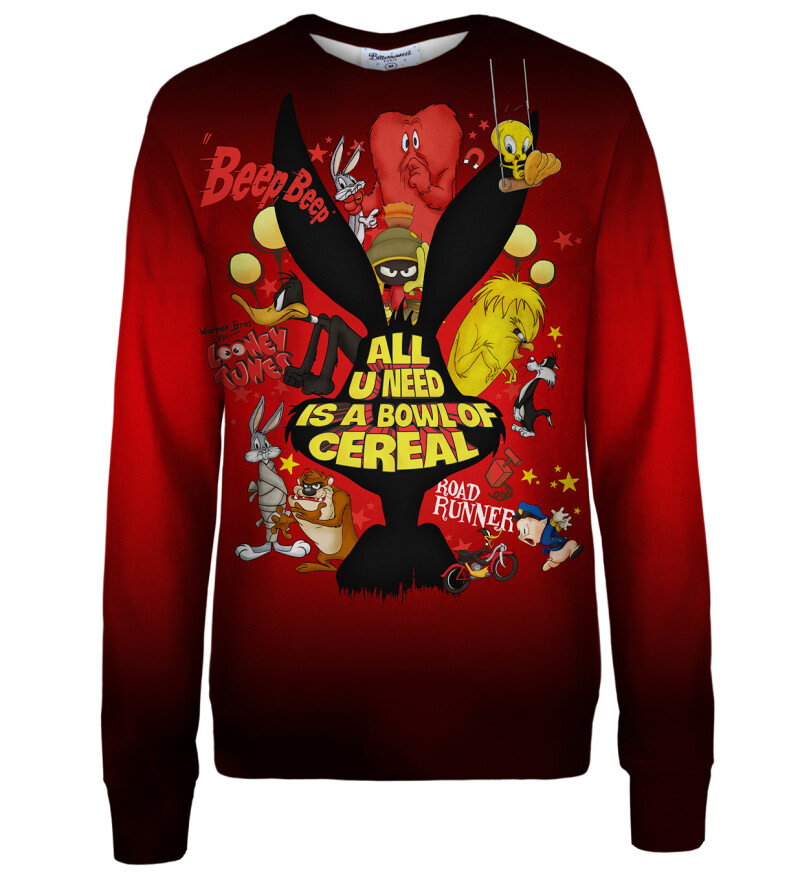 Bowl of cereal red womens sweatshirt