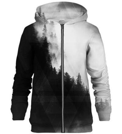 Geometric Forest Grey zip up hoodie