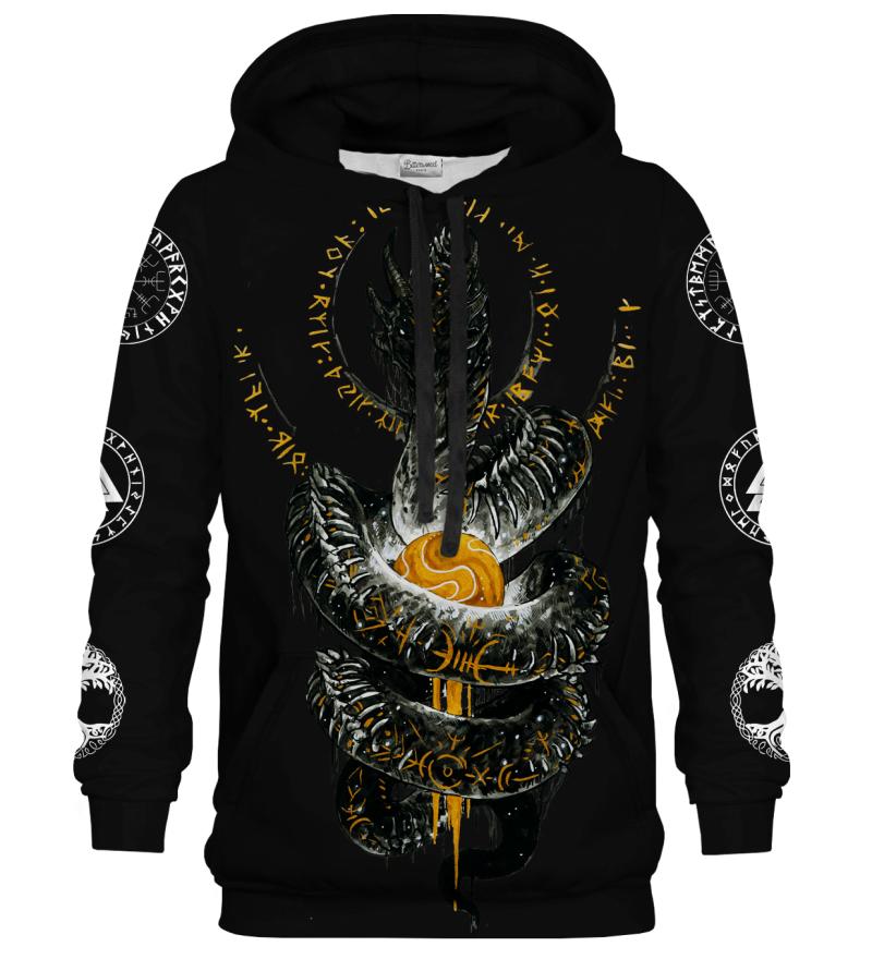 Printed Hoodie - Nordic Jormungandr Black