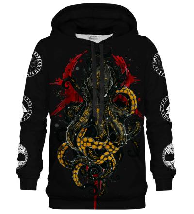 Printed Hoodie - Nordic Kraken Black