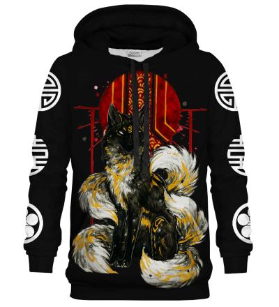 Printed Hoodie - Asian Kitsune Black