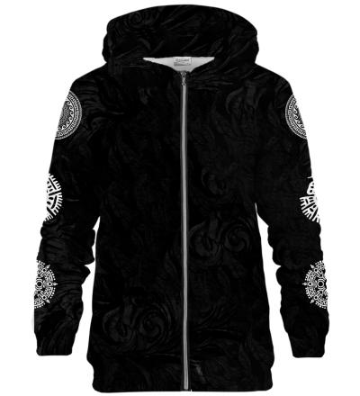 Zip Up Printed Hoodie - Mexican Balam Black