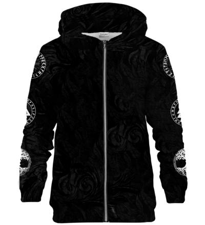 Zip Up Printed Hoodie - Nordic Jormungandr Black