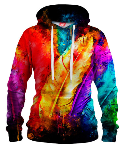 COLORFUL BIRD FEATHERS Womens hoodie