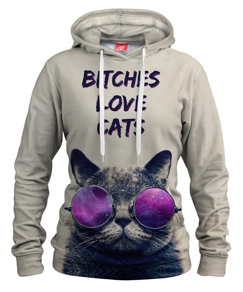Damska bluza z kapturem BITCHES LOVE CATS