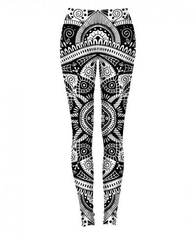 BLACK AND WHITE MANDALA PATTERN Leggings