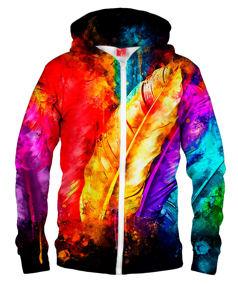 COLORFUL BIRD FEATHERS Hoodie Zip Up