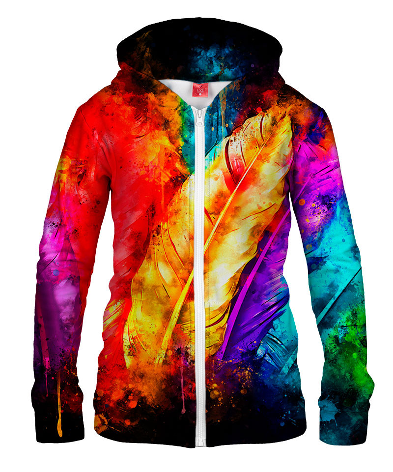 COLORFUL BIRD FEATHERS Womens Hoodie Zip Up