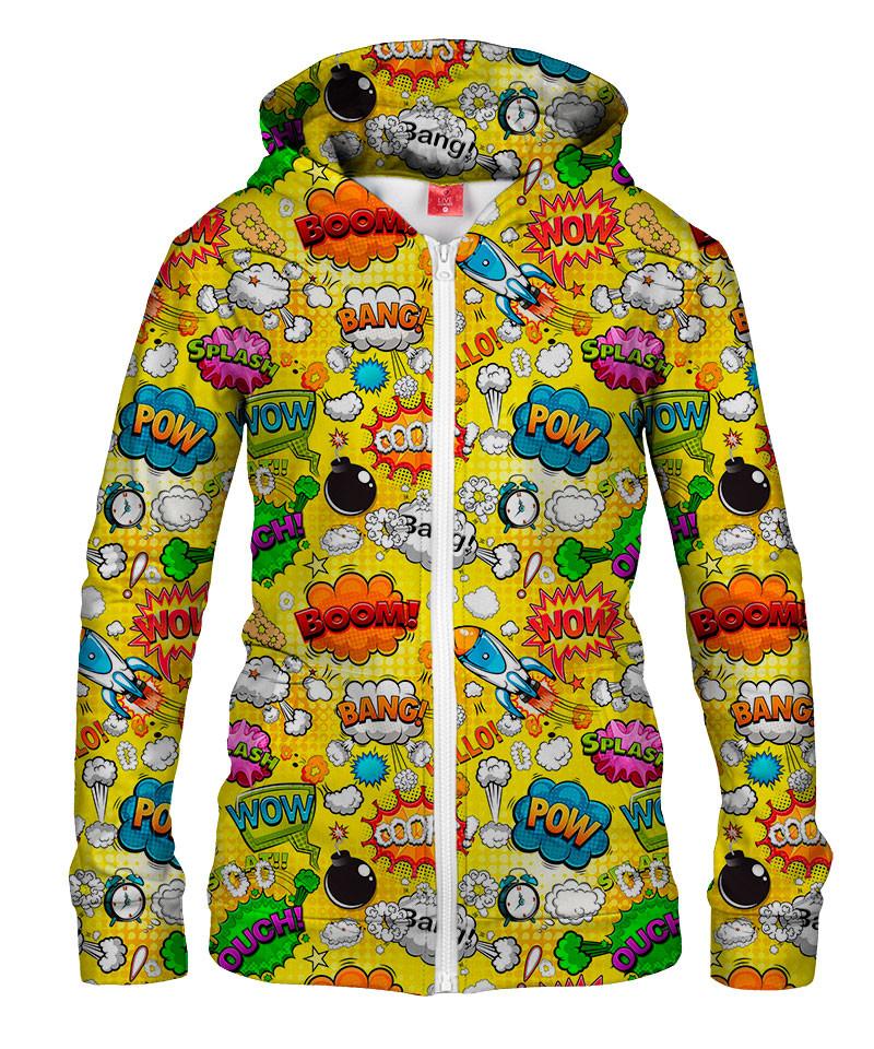 Damska bluza z zamkiem OMG COMICS YELLOW