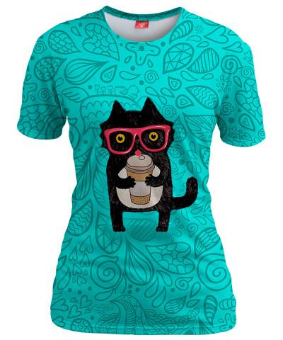COFFEE KITTY CAT Womens T-shirt