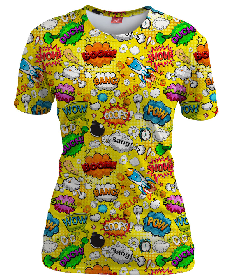OMG COMICS YELLOW Womens T-shirt