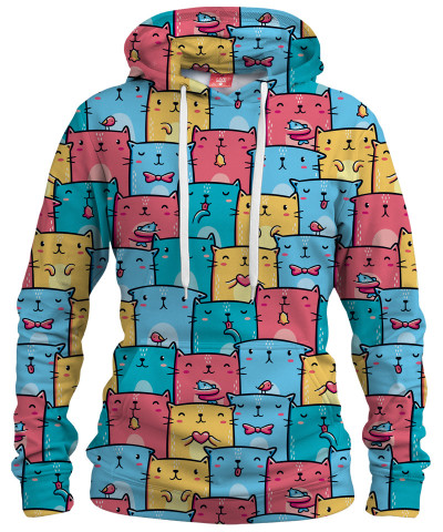 COLORFUL CATS PATTERN Womens hoodie