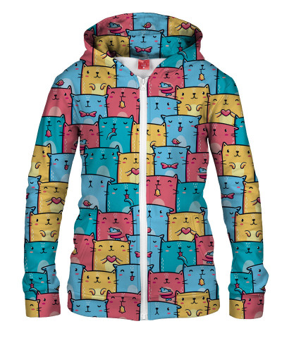 COLORFUL CATS PATTERN Womens Hoodie Zip Up