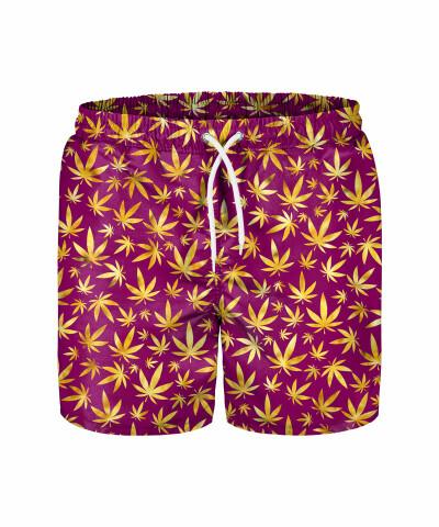 GOLD WEED PATTERN Swim Shorts