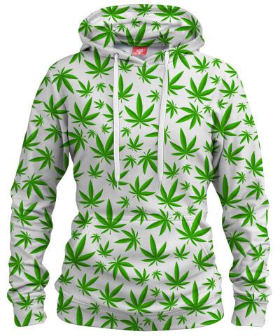 Damska bluza z kapturem WEED PATTERN WHITE