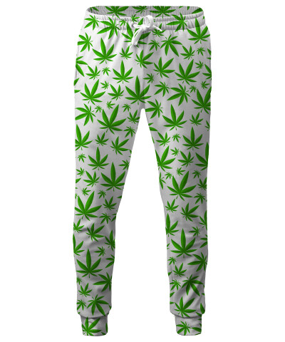 WEED PATTERN WHITE Sweatpants