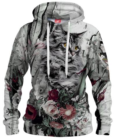 CAT IN FLOWERS Womens hoodie