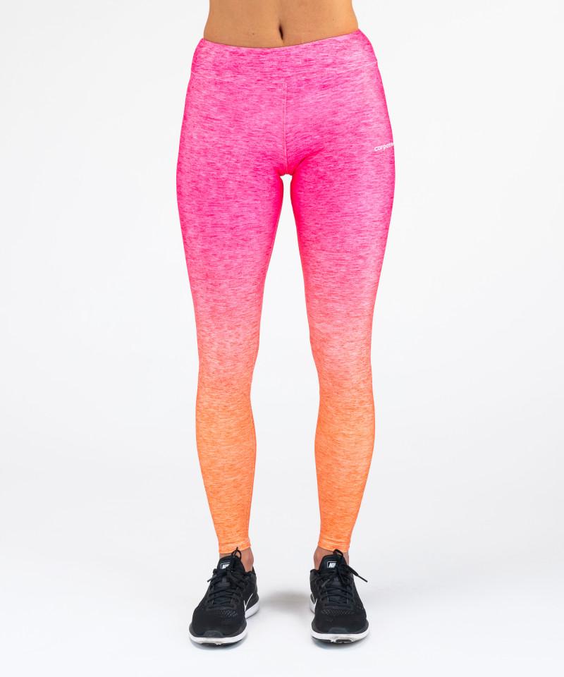 Różowo - pomarańczowe legginsy Ombre 4
