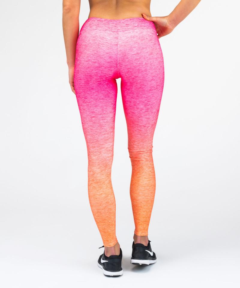 Różowo - pomarańczowe legginsy Ombre 5