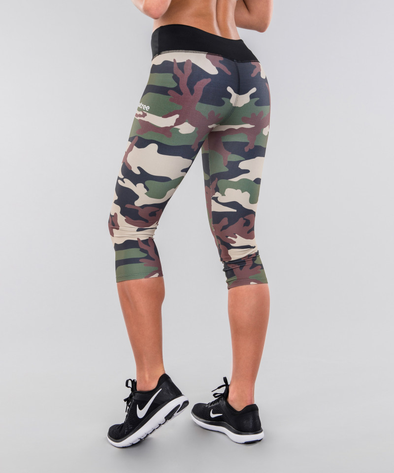 Army camo&black belt legginsy 3/4 2