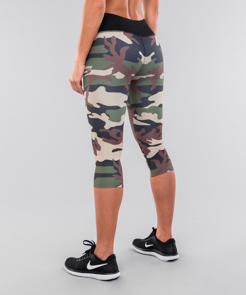 Army camo&black belt legginsy 3/4 3