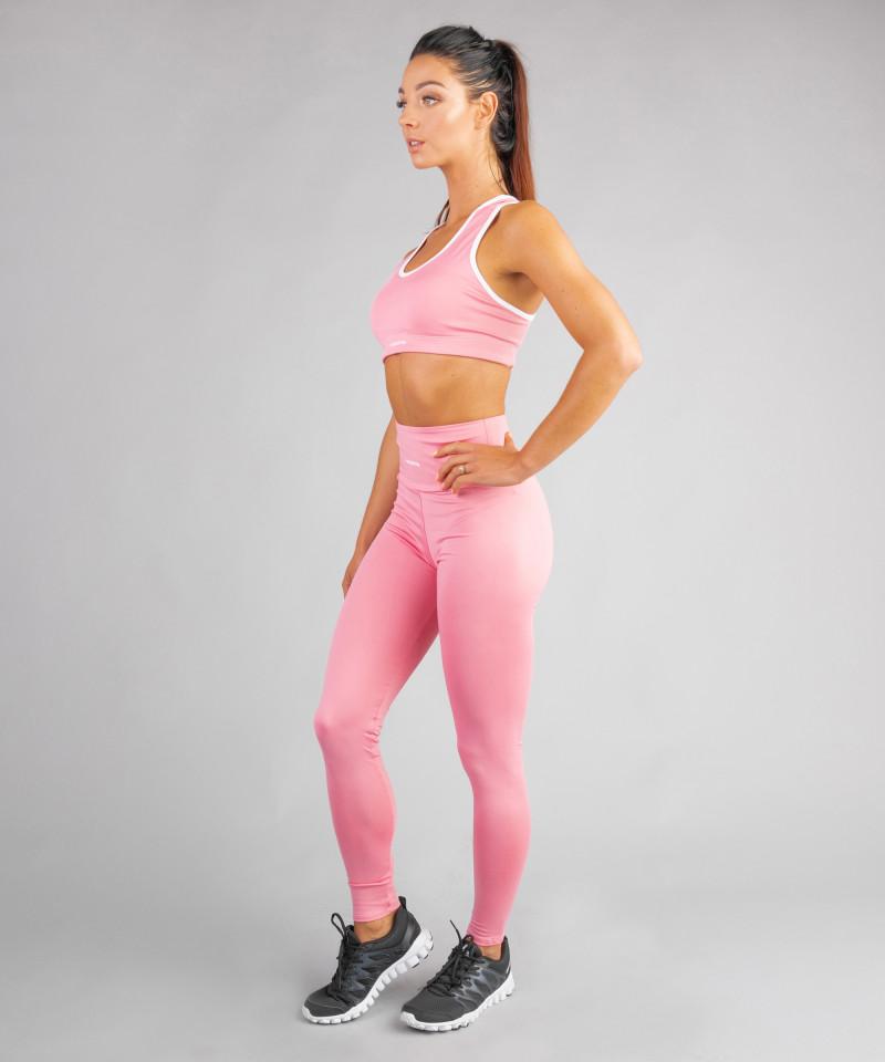 Różowe klasyczne legginsy z wysokim stanem 2