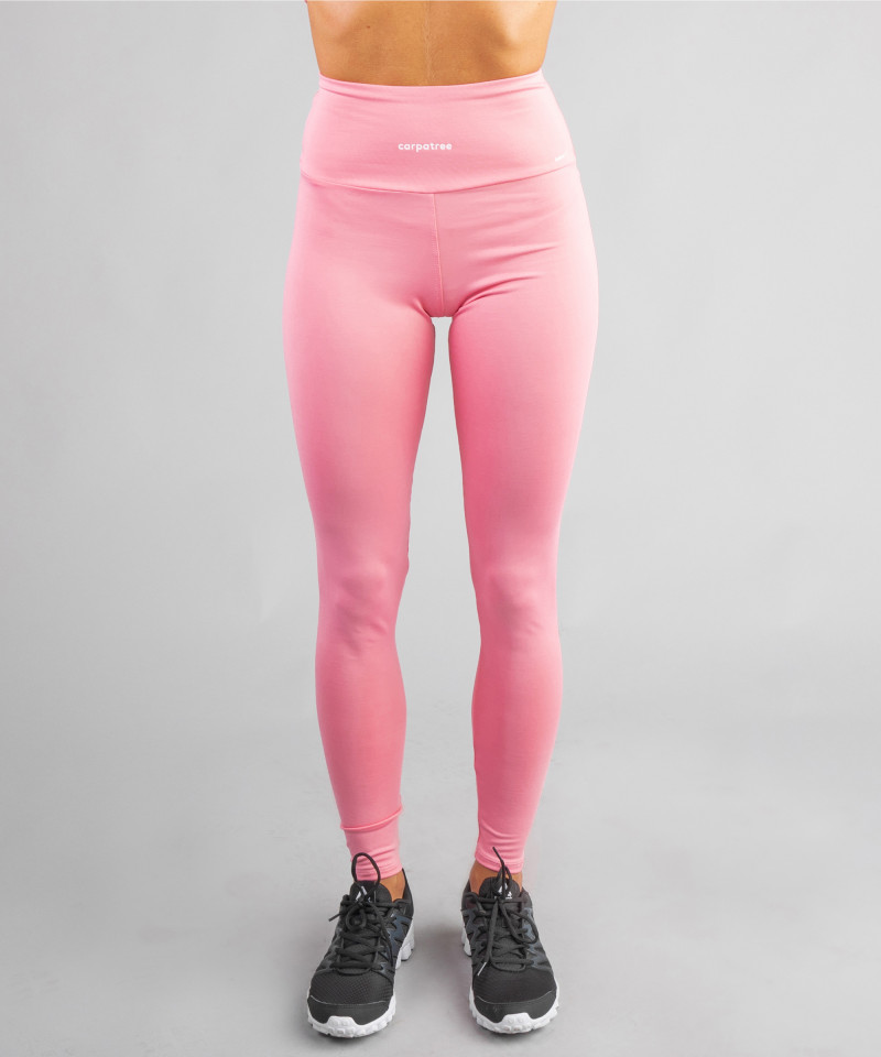 Różowe klasyczne legginsy z wysokim stanem 4