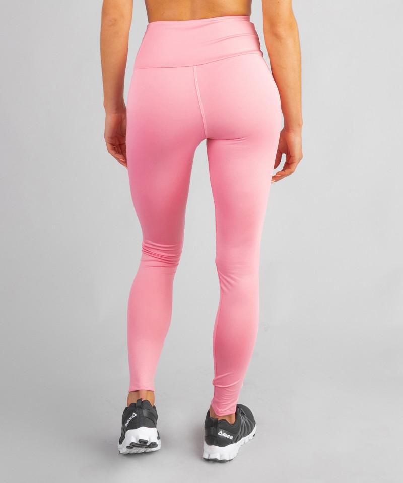 Różowe klasyczne legginsy z wysokim stanem 5