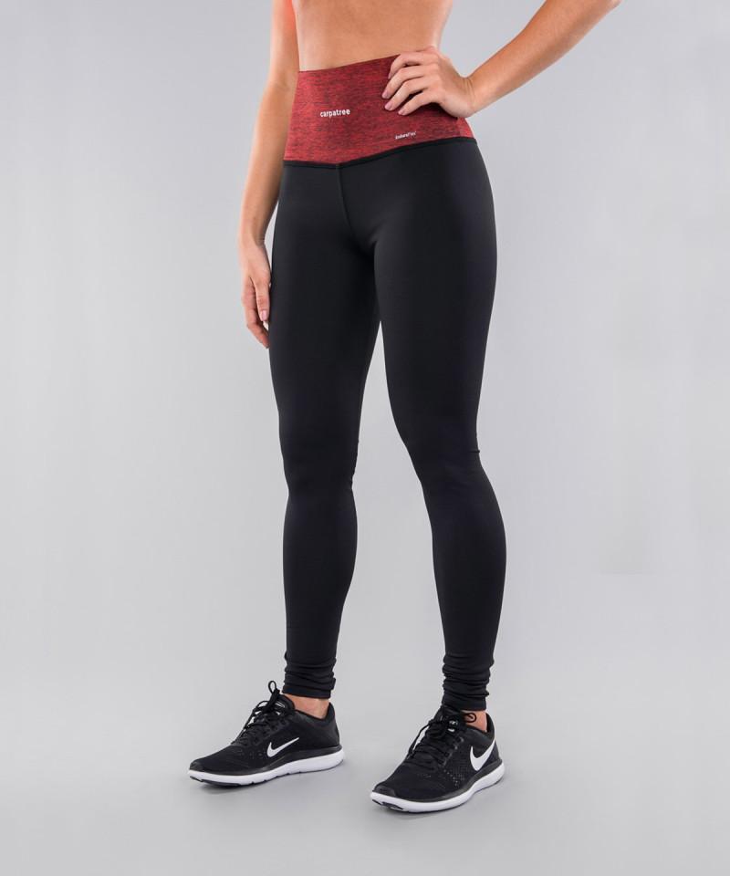 Czarne legginsy z czerwonym pasem 2