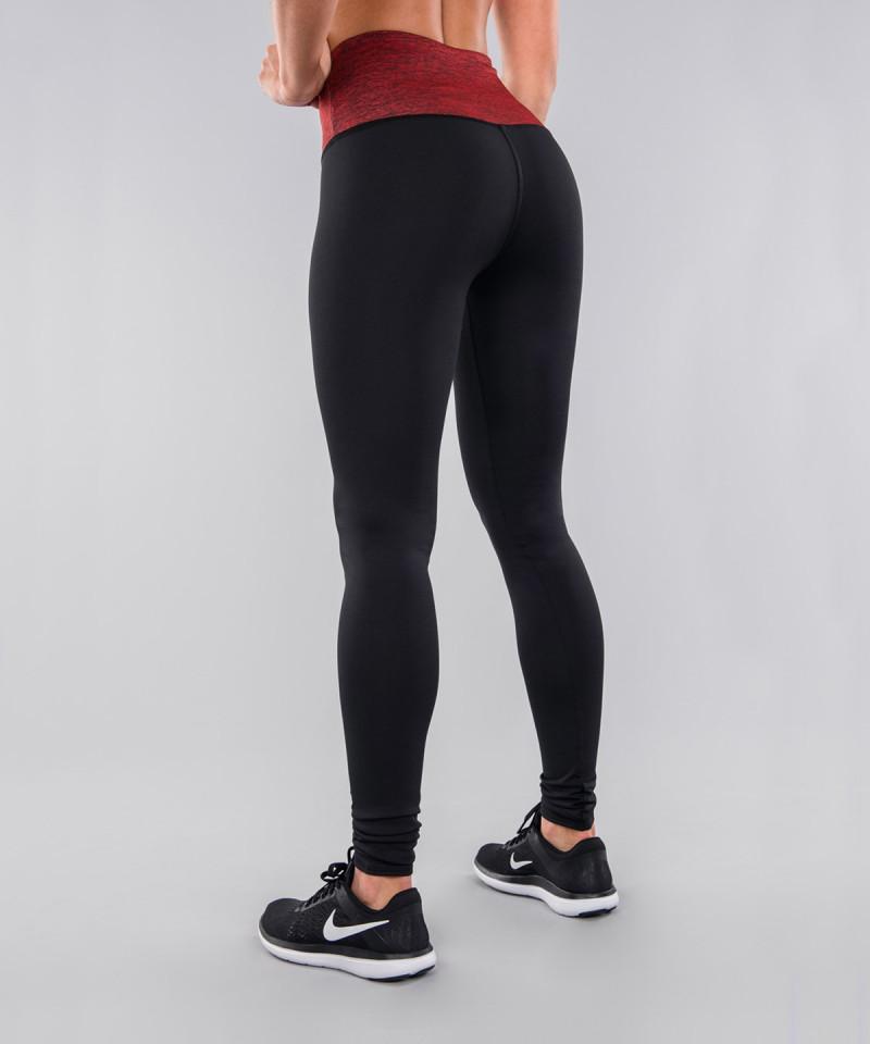 Czarne legginsy z czerwonym pasem 3