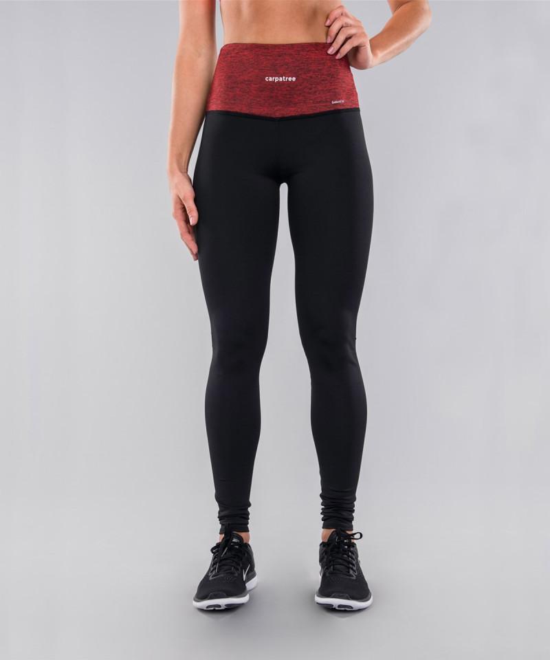 Czarne legginsy z czerwonym pasem 4