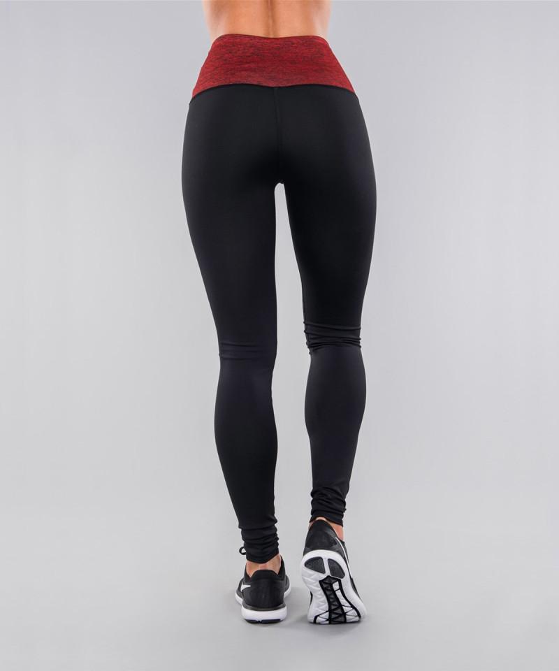 Czarne legginsy z czerwonym pasem 5