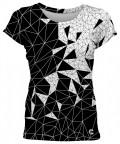 Czarno-biała koszulka z okrągłym dekoltem