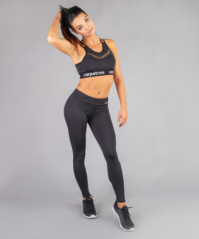 Czarne legginsy z regularnym stanem 4