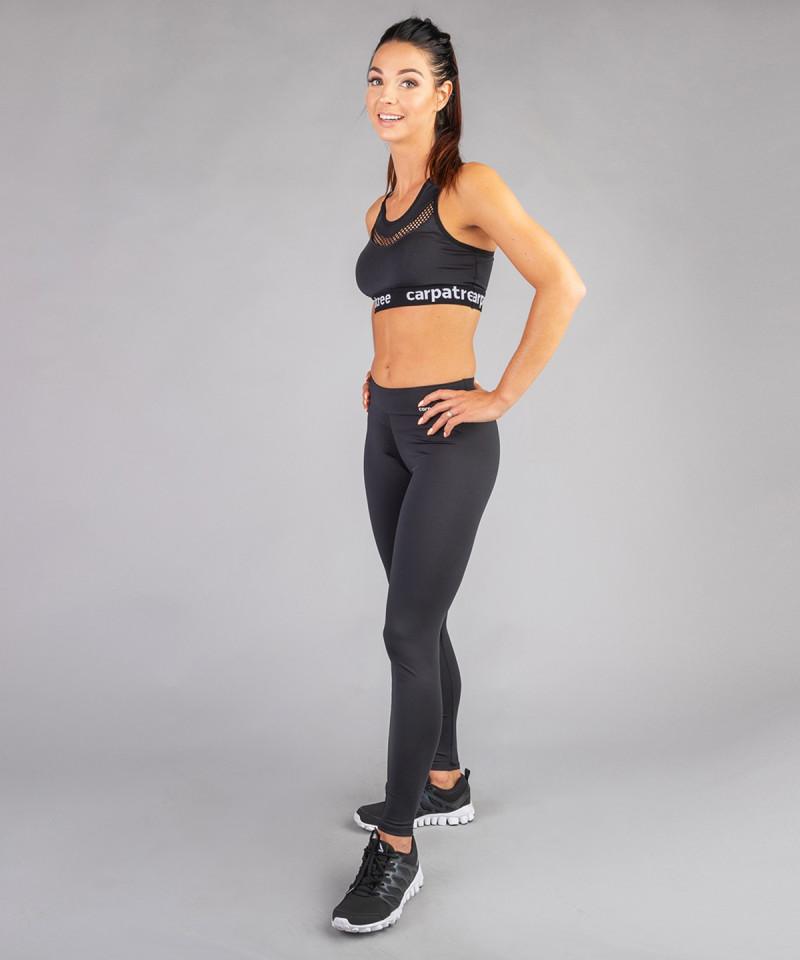 Czarne legginsy z regularnym stanem 5