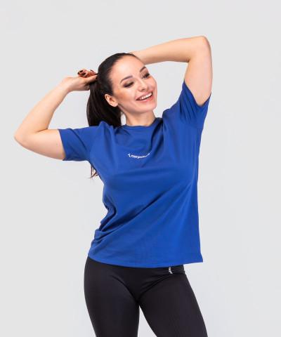 Niebieski Luźny T-shirt 1