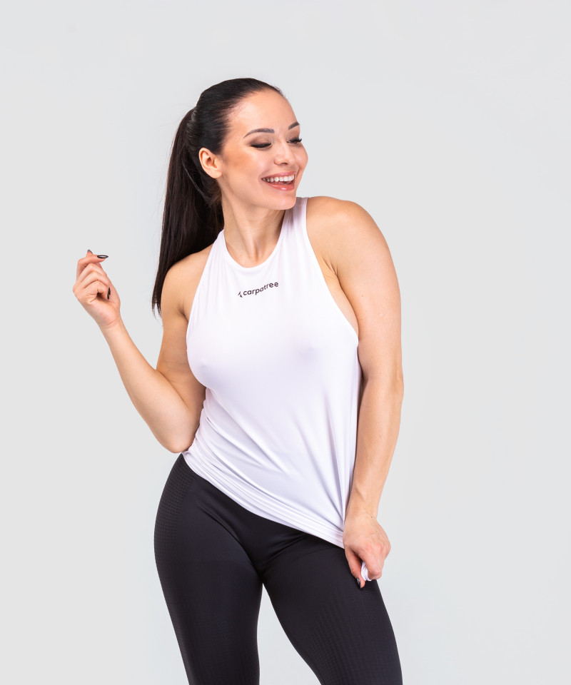 White Cut Out Back Tank-top