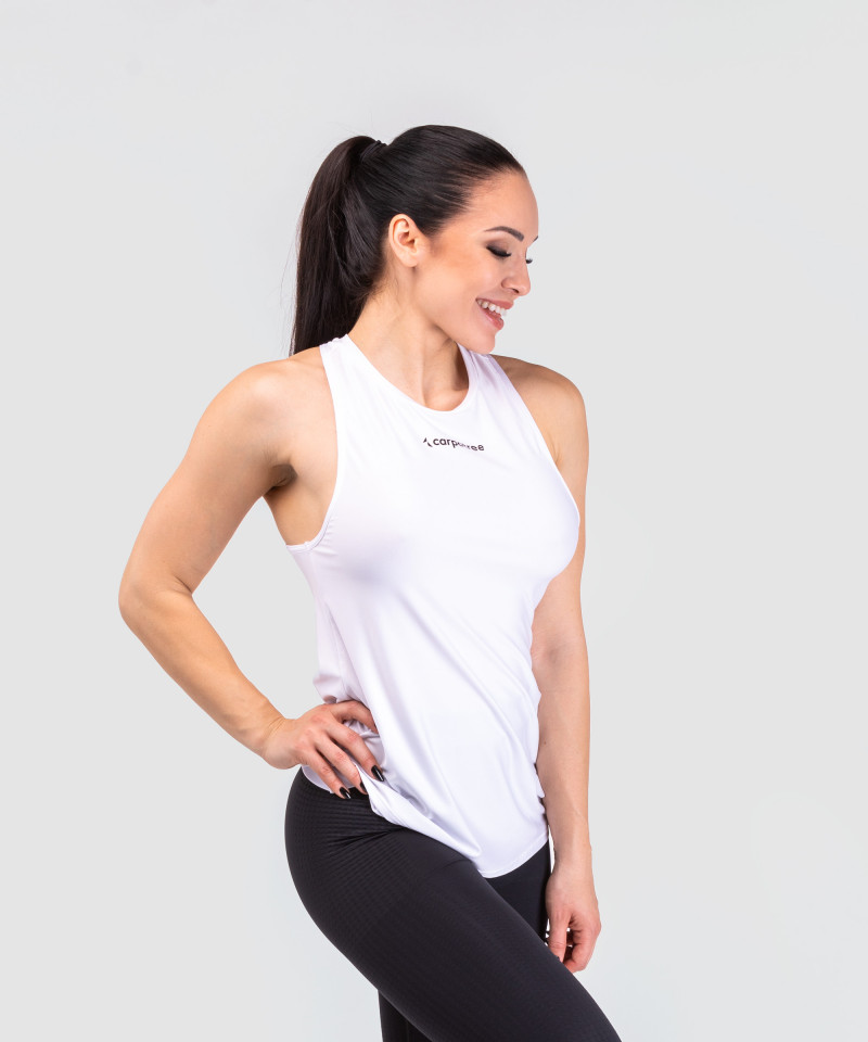 White Cut Out Back Tank-top 2