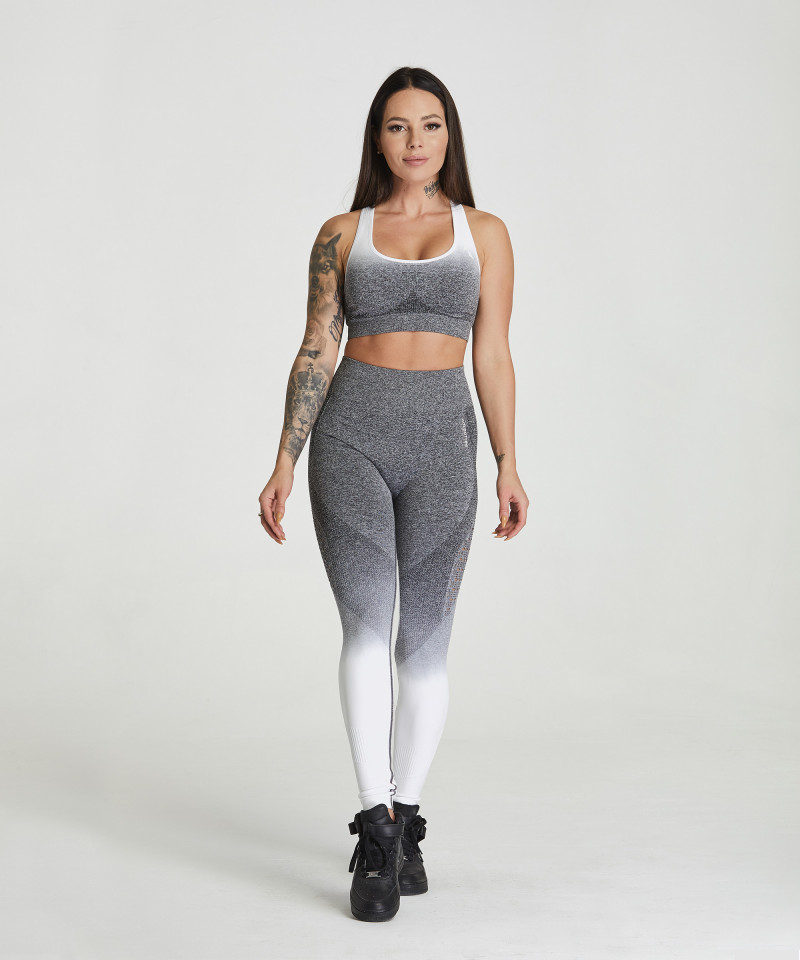 Grey & White Ombre Phase Seamless Leggings 2