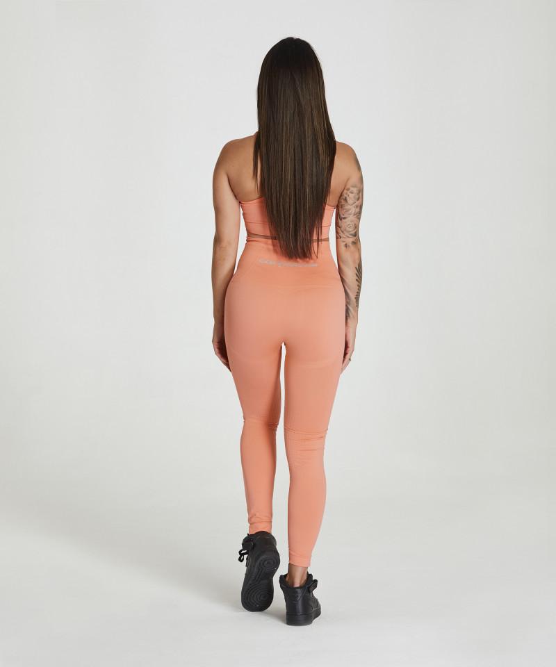 Peach-Orange Seamless Leggings Model One 4