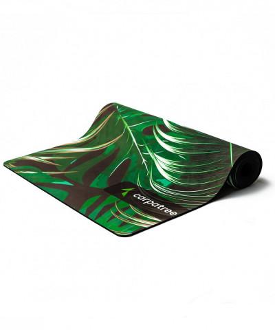 Зеленый коврик для йоги, тропический принт