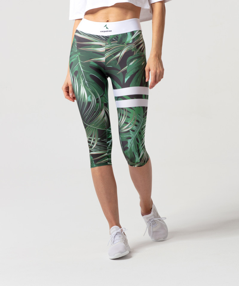 Zielone legginsy 3/4 Tropical 1