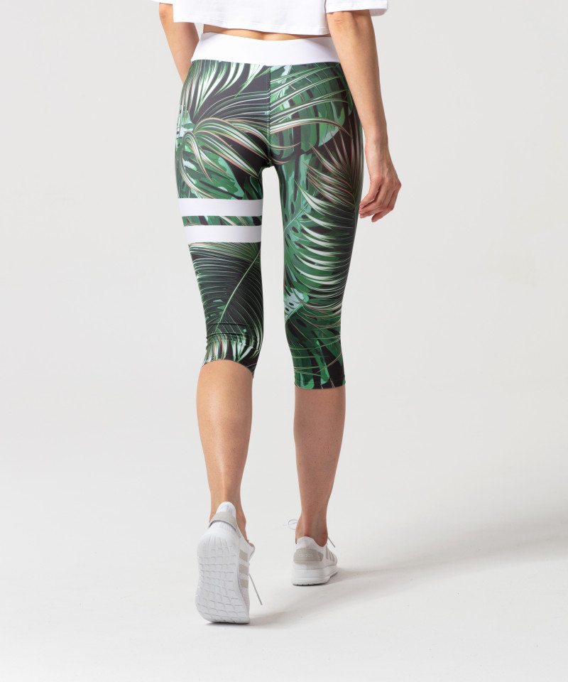 Zielone legginsy 3/4 Tropical 2