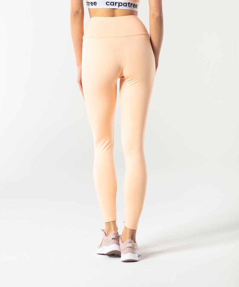 Brzoskwiniowe klasyczne legginsy z wysokim stanem 2