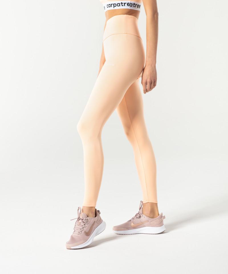 Brzoskwiniowe klasyczne legginsy z wysokim stanem 3