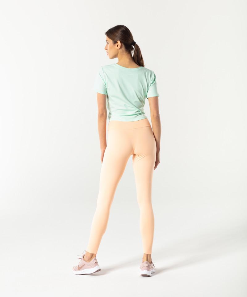 Brzoskwiniowe klasyczne legginsy z wysokim stanem 5