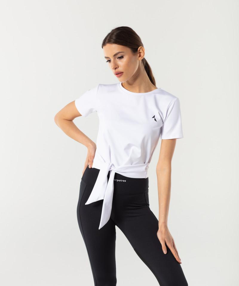 Dámské Bílé Tied up tričko s krátkým rukávem 2