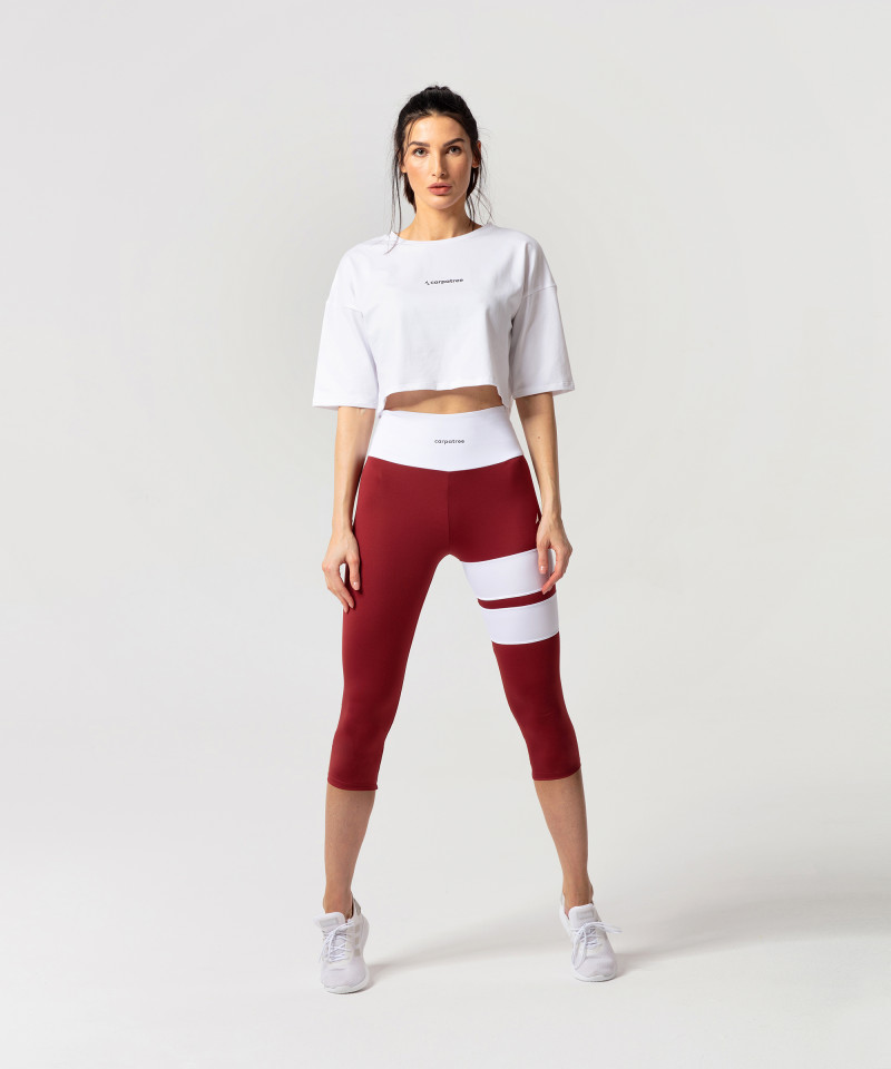 Burgundy Loop Capri Leggings 4