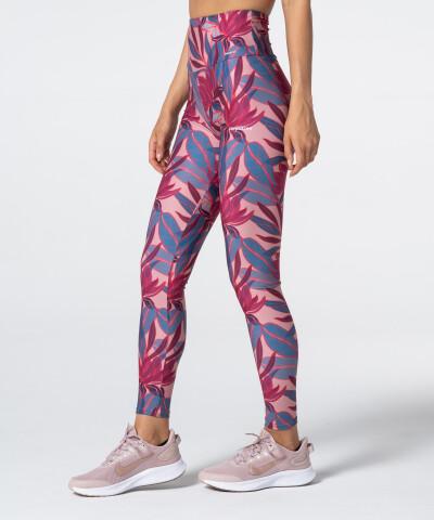 Rot und rosa aufgedruckte Leggings mit hoher Taille 1