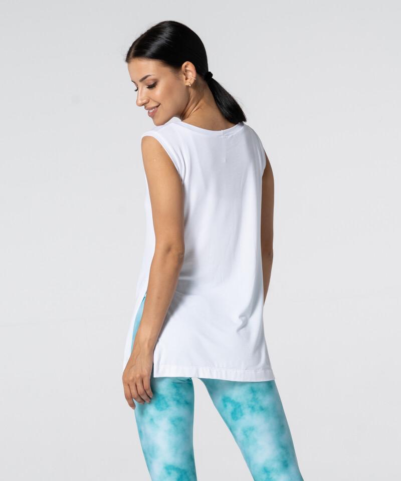 Женская белая футболка Slit с короткими рукавами